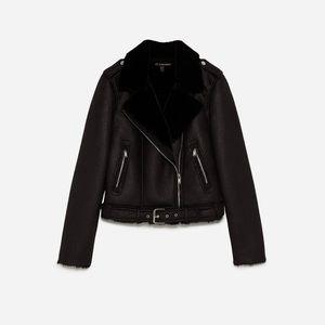 Zara biker jacket with faux fur interior